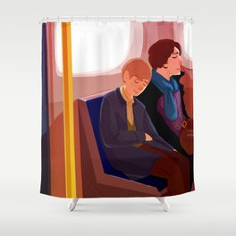 Johnlock on the tube after a case Shower Curtain