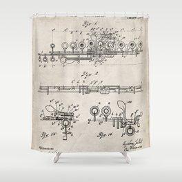 Flute Patent - Musician Art - Antique Shower Curtain