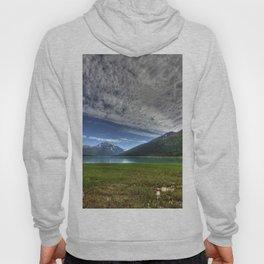 Photos Alaska USA Eklutna Lake HDR Nature Mountains Sky landscape photography Grass Clouds HDRI mountain Scenery Hoody