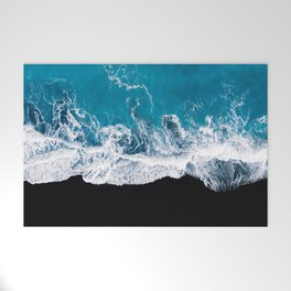 Black sand beach with waves and blue Ocean in Iceland – Minimal Photography Welcome Mat