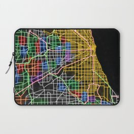 Chicago Street Map in NEON Laptop Sleeve
