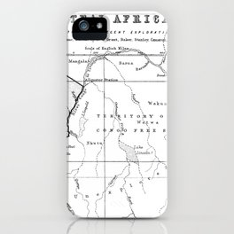 Black And White Vintage Map Of Africa iPhone Case