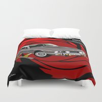 james bond Duvet Covers featuring James Bond Aston Martin AM V8 from The Living Daylights by car2oonz