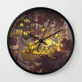 Treehouse Dinner With Animal Friends Wall Clock