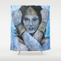 fierce Shower Curtains featuring Fierce & Flawless by Colunga-Art