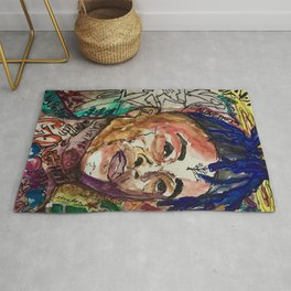 X,rapper,rip,hiphop,music icon,lyrics,colourful poster,dope,wall art,cool,shirt Rug