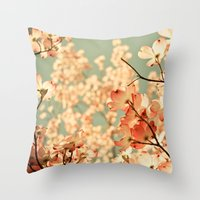 bianca green Throw Pillows featuring Pink by Olivia Joy StClaire
