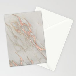 Marble - Rose Gold Marble Metallic Blush Pink Stationery Cards