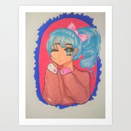 Cute Manga Girl Art Print