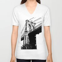 brooklyn bridge V-neck T-shirts featuring Brooklyn Bridge by Massimiliano Bertozzi
