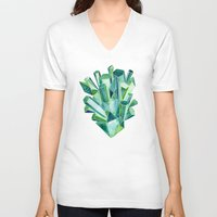emerald V-neck T-shirts featuring Emerald Watercolor by Cat Coquillette