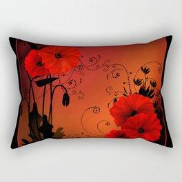 Poppy flowers, sunset Rectangular Pillow