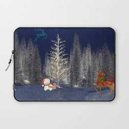Magical Reindeer Christmas Forest Laptop Sleeve