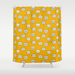 Cat heads in orange yellow Shower Curtain