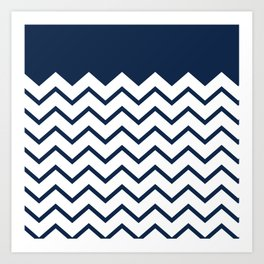 cheveron blue Art Print