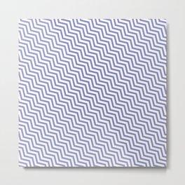 Simple light blue zig zag lines pattern Metal Print