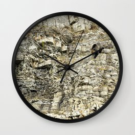 Grizzly Coming Over and Down the Ridge Wall Clock