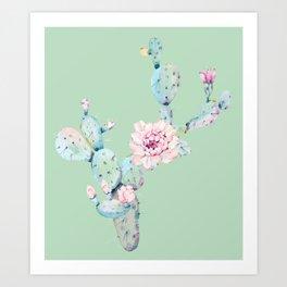 Rose Desert Cactus Mint Green + Pink Art Print