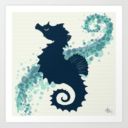 """Seahorse Silhouette"" ` digital illustration by Amber Marine, (Copyright 2015) Art Print"