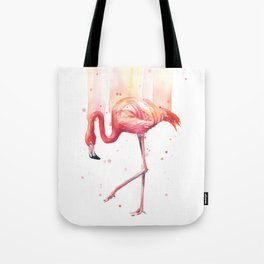 Pink Flamingo Watercolor Tropical Bird Tote Bag