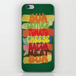 Funny Burger Typography Art  iPhone Skin
