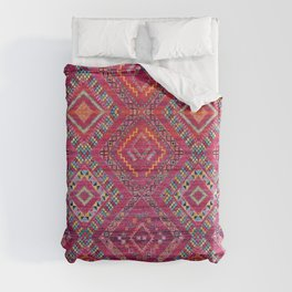 N118 - Pink Colored Oriental Traditional Bohemian Moroccan Artwork. Duvet Cover