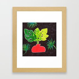 Monstera Leaves in Vase Framed Art Print