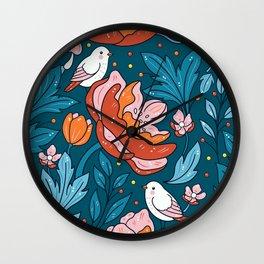 Art nouveau teal Wall Clock