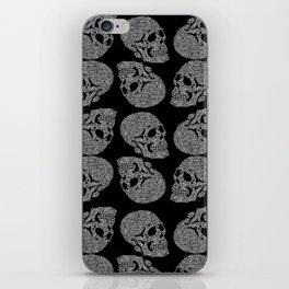 Skull doodle pattern - white on black iPhone Skin
