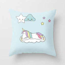 sleeping unicorn Throw Pillow