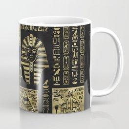 Egyptian  hieroglyphs and symbols gold on black leather Coffee Mug
