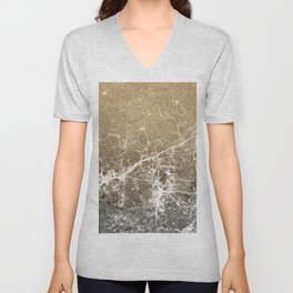 Vintage black white gold glitter marble Unisex V-Neck