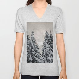 Winter Woods II - Snow Capped Forest Adventure Nature Photography Unisex V-Neck