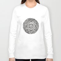 calendar Long Sleeve T-shirts featuring Aztec Calendar by Jack Soler