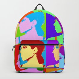 Poster with girl in popart style Backpack