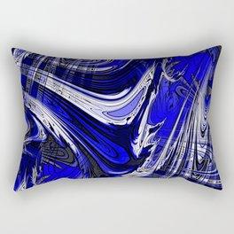 Lost Marble Cobalt Blue Fractal Digital Abstract Rectangular Pillow