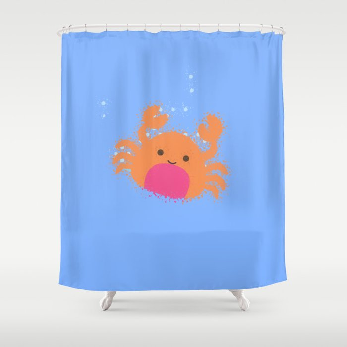 Orange Cartoon Crab Shower Curtain