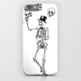 Skeleton juggles skulls Death iPhone Case