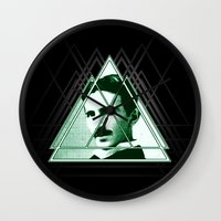 tesla Wall Clocks featuring Tri-Tesla by Rad Recorder