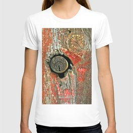 Weathered Wood Texture with Keyhole T-shirt