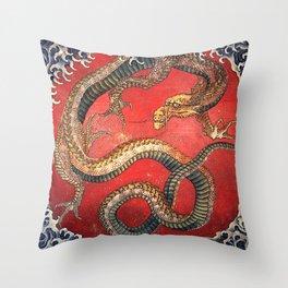 Dragon by Hokusai Throw Pillow