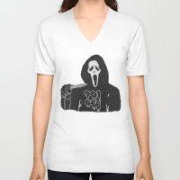 memphis V-neck T-shirts featuring Scream Memphis by negativecreep