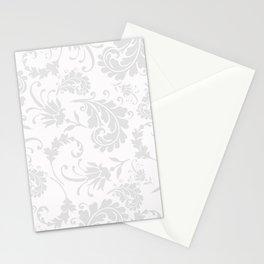 Vintage of white elegant floral damask pattern Stationery Cards
