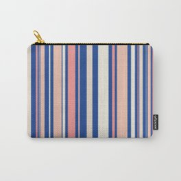 Pink Blue and Orange Stripes Carry-All Pouch