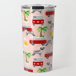 Schnauzer mini van hippie van palm tree tropical summer dog breed pattern Travel Mug
