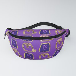 Cute whimsical Gold and purple Cat Pattern Fanny Pack