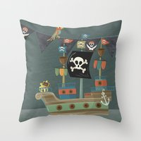 ships Throw Pillows featuring ships ahoy  by Monkey Buttons