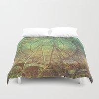 ferris wheel Duvet Covers featuring Ferris Wheel by Creative Vibe