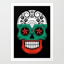 Sugar Skull with Roses and Flag of Bulgaria Art Print