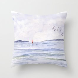 Peaceful Sail Throw Pillow